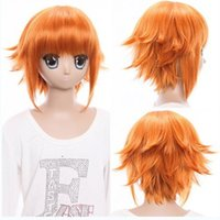 Wholesale Cheap Orange Wigs - cheap short orange wig cosplay wigs with bangs halloween party synthetic hair heat resistant costume wig anime wigs for womens
