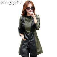 Wholesale Ladies Leather Trench Coat - Wholesale- 2017 New Leather Jacket Women Top Fashion Plus Size Slim Ladies Faux PU Outerwear Long Women Leather Trench Coat Female