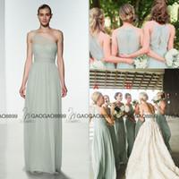 Wholesale Amsale One Shoulder - 2017 Amsale Sage Chiffon Elegant Long Boho Beach Bridesmaid Dresses Custom Make Plus Size Maid of Honor Wedding Party Guest Dress