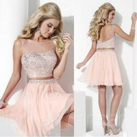 Wholesale Champagne Sequin Sexy Mini Dress - 2016 Two Pieces Short Prom Dresses Sheer Tulle Neck Beaded Crystals Bodice Short Mini Homecoming Dresses Open Back Pink Custom Made