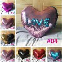Wholesale Heart Pillow Cover - New Heart Sequins Pillow Cases Reversible Sequin Mermaid Pillowcase Changing Color Decorative Throw Pillow Covers For Sofa c132