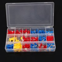 Wholesale Spade Crimp - 300Pcs Wire Crimp TerminalsTool Insulated Electrical Cable Butt Ring Fork Spade Connectors Kit Red Yellow Blue Assorted Color Set