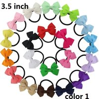 Wholesale Blue Pony Tail - 15% off! 2016 new Pinwheel 50pcs  Grosgrain Ribbon Hair Bows hair bands Pony Tail Holder Gift Bow elastic band For Baby bowknot head rope