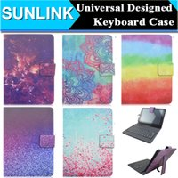 Universal Rainbow Flowers Sky Design Micro USB Keyboard Wallet Case para 7 10 polegadas Tablet PC Q88 Samsung Tab PU Leather Cover w / Stand titular