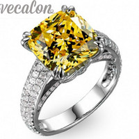 Wholesale Heart Cut Topaz - Vecalon Cushion cut 8ct Topaz Cz diamond ring Engagement wedding Band ring for women 925 Sterling Silver Female Finger ring