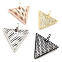 Wholesale Gold Triangle Spiked Necklace - Micro Pave Zircon Spike Dog Tag Pendant with Bail,Gold Silver RoseGold Black Plated Triangle Shaped Pendant For Necklace Making