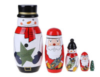 Wholesale Toy Kid Pictures - Wooden Matryoshka Dolls Baby Toy Nesting Dolls Lovely Christmas Snowman Santa Claus Picture Russian Dolls Kids Gift