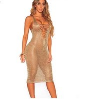 Sexy Lace Up Tunika Gold Häkeln Strand Kleid Frauen Hollow Out Sleeveless Deep V Neck Tank Midi Sommerkleider Clubwear Sundress
