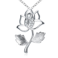 Wholesale Elegant Women Accessories - 925 Sterling Silver Pendants Necklace Gemstone Crystal passion Flower Fancy Elegant Chain Jewelry Wedding Party accessories For Women Girls