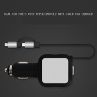 Wholesale Iphone Micro Usb Retractable - Dual USB 5V 4.8A Micro Lighning 2 in 1 Retractable Cable Car Charger for Samsung Huawei ZTE iPhone 5 5S 6 Plus 6S HTC
