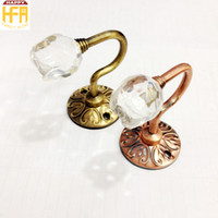 Wholesale Small Wall Hooks - Metal Curtain Hooks Small Crystal Curtain Holdbacks Wall Home Window Drapes Accessories Alloy Wall Hooks Tiebacks 2Pcs Set Wholesale