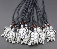 Wholesale Tribal Bone - Wholesale 12PCS Imitation Bone Carved Tribal Turtles Pendant for men women's jewelry Surfing sea turtle Necklace Gift MN443