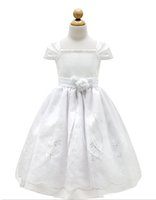 Wholesale Birthday Element - Communion Dresses Classic Flower Girl White Cap Sleeved Beaded Dress First Holy Communion Wedding Girls Dress Long Section Lace Elements Br