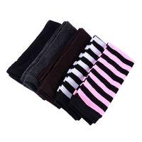 manchons sans doigts achat en gros de-Femmes gros-sexy tricoté manchettes longues manches hiver gants sans doigts gants rayés