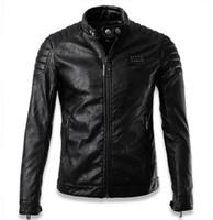 mens kafatası ceketleri toptan satış-Fall-Chaquetas De Cuero Hombre 2016 Lüks Kafatası erkek pilot deri ceketler jaqueta de couro erkekler biker ceket marka giyim adam XXXL