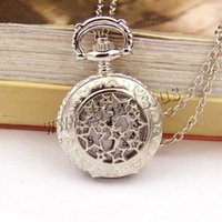 Wholesale-Bronze Retro Pocket Fob Relógios Moon Star Circle Quartz Watch Colar Pingente Mulheres Mens Gift