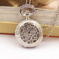 Wholesale Acrylic Star Pendants - Wholesale-Bronze Retro Pocket & Fob Watches Moon Star Circle Quartz Watch Necklace Pendant Women Mens Gift