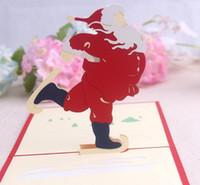 origami zum geburtstag großhandel-10 stücke Weihnachtsmann Handgemachte Kirigami Origami 3D Pop UP Grußkarten Einladungspostkarte Für Geburtstag Weihnachtsfeier Geschenk