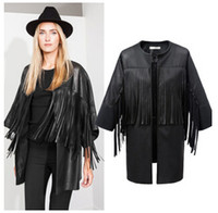 Wholesale Leather Sexy Jackets Coats Women - Wholesale-big size female genuine leather jackets for womens Tassel sexy motorcycle coat clothing woman vestidos casual feminine blouses