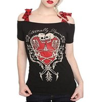 Frauen Casual Slim T-Shirt Tops Plus Size Schädel Print Tops Bow Tie Off Schulter Tees