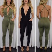 Wholesale Casual Elegant Jumpsuit - New Women New Fashion Rompers And Jumpsuits Women Sexy Backless Sleeveless Playsuit Bodysuits Elegant Bandage Jumpsuits XD259