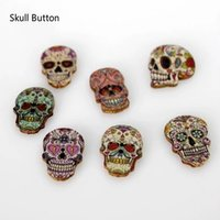 Wholesale Wholesale Sewing Buttons - WB-22 wholesale Mixed Random 2 Holes skull Shape Wood Wooden Button for Sewing Crafting Pack of 100 painted woodden buttons