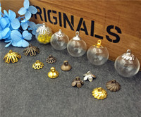 Wholesale Glass Ball Globe - 10sets lot 18mm empty glass globe ball bottle 4mm open with cap set glass vial pendant charms glass dome cover Christmas Decoration