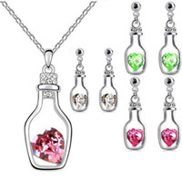 Wholesale Drifting Bottle Set - 2016 Fashion Love drift bottles austrian crystal jewelry sets pendants necklace and earrings 5 colors for choices