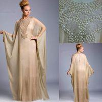 vestido largo de muselina al por mayor-Los cristales de champán Dubai Fancy vestidos de baile Farasha Abaya jalabiya Kaftan islámica gasa con cuentas bo6372 muselina Vestidos de noche largos