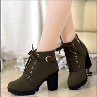 Wholesale Chunky Winter Boots - Gothic Shoes 2015 Latest Gothic Shoes women Winter Spring Autumn Womens Boots Plus Size Boots Black Red Khaki Gothic Shoes