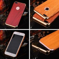Wholesale Wooden Case Parts - 3 Parts Deluxe Wood Wooden PC Hard Case For Iphone 7 Plus Iphone7 I7 3 in 1 Electroplate Metallic Chromed Hybrid Skin Cover Shell Phone