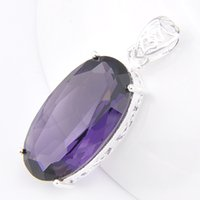 Wholesale 925 Sterling Silver Pendant Large - Large Clear Crystal Pendant Necklace purple Wedding Jewelry 925 sterling Silver plated High Quality Bride Jewelry 5pcs P1136