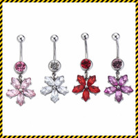 Wholesale red plastic christmas bells - 5PCS Kawaii Flower dangle Belly Button Rings Body Piercing 316L Surgical Steel Fashion Navel Rings Dangle for Women charms Belly jewelry