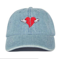 Wholesale Pink Bear Hats - New denim Kanye west Heart break album cap colb by kaws bear dad hat Kanye West Wolves hat ovo drake hats KERMIT TEA Hat casual