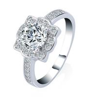 synthetische diamantprinzessin großhandel-3 ct klare CZ Trauringe Runde Princess Cut platiniert Ring für Frauen beste Qualität synthetischer Diamant