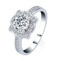 Wholesale Princess Round Diamond Ring - 3ct Clear CZ Wedding Rings Round Princess Cut Platinum Plated Ring for Women Best Quality Synthetic Diamond