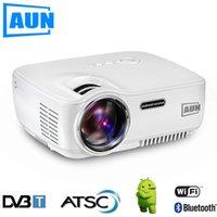 Wholesale Dvb Module - AUN Projector AM01S ( Optional DVB-T   ATSC   Android 4.4 WIFI Bluetooth ) 1400 Lumen LED Projector LED TV tuner , HDTV Module