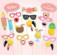 Wholesale Baby Mask Adult Halloween - 21pcs lot Flamingo Hawaii Themed Summer Baby Shower Photo Booth Props Birthday Party Decoration PhtotoBooth Mustache Centerpieces