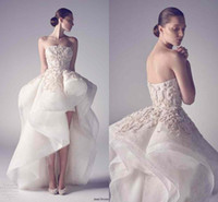 Wholesale white asymmetrical skirt - 2016 Hot krikor Jabotian High Low Wedding Dresses Sexy Strapless Applique Organza Custom Made Formal Bridal Gowns