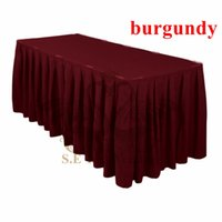 Wholesale table skirts wholesale - Burgundy Color Ruffled Poly Table Skirt Wedding Table Cloth Skirting