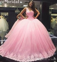 Wholesale White Formal Dresses For Sale - Cute Pink Applique Lace Ball Gown Quinceanera Dresses For 15 Years Handmake Plus Size Masquerade Ball Gowns Formal Prom Gowns 2017 New Sale