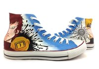 Wholesale Cosplay Naruto Boy - Wholesale-High Top Hand Painted Gaara Naruto Anime CosPlay Shoes Unique Gifts for Woman Man Girls Boys Sneakers