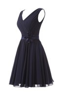 Wholesale chiffon flower belt - Real Short V-neck Junior Bridesmaid Dresses Navy Blue With Belt Handmade Flower Chiffon Pleats Evening Prom Party Dresses Gowns