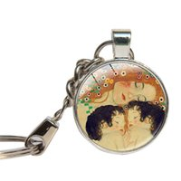Wholesale Glass Painting For Children - Gustav Klimt Art Painting Keychain Glass Cabochon Mother And Child Key Ring Glass Dome Key Chain Jewelry Key Holder Gift For Mom