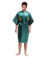 xxl ipek pijama toptan satış-Toptan-Yenilik Yeşil Çin Erkekler İpek Saten Robe Kimono Yukata kıyafeti Nakış Ejderha Gecelik Pijama Boyut S M L XL XXL XXXL MR020