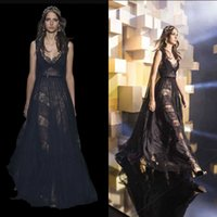 Wholesale Cheap Elegant Elie Saab Dress - 2016 Sexy Elie Saab Evening Dresses Black Couture Elegant A Line Lace tulle V Neck Sleeveless Custom Formal Cheap Prom Party Gowns pkg