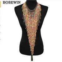 Wholesale Black Beads Choker - Bohemian Style Design Women Fashion Charm Jewelry Resin Bead Handmade Long Tassel Statement Link Chain Choker Necklace CE4187