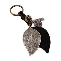 Wholesale Key Chain Leave - Punk Art Genuine Leather Cut out men women keychain bag pendant Alloy leaves Car key chain ring holder Jewelry 2016 New