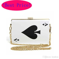 Wholesale Pink Plastic Purse - Best Price Hot Acrylic Evening Bags! Brand Designer Poker Clutch Women Queen Handbag Purse Hard Chain Box Perfume Bag Plastic Poke - RC031