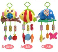 Wholesale Cartoon Cars Musical Toys - Baby Rattle Ring Bell Baby plush Owl elephant fish 3 style lathe hanging Musical Baby toy for bed Stroller car